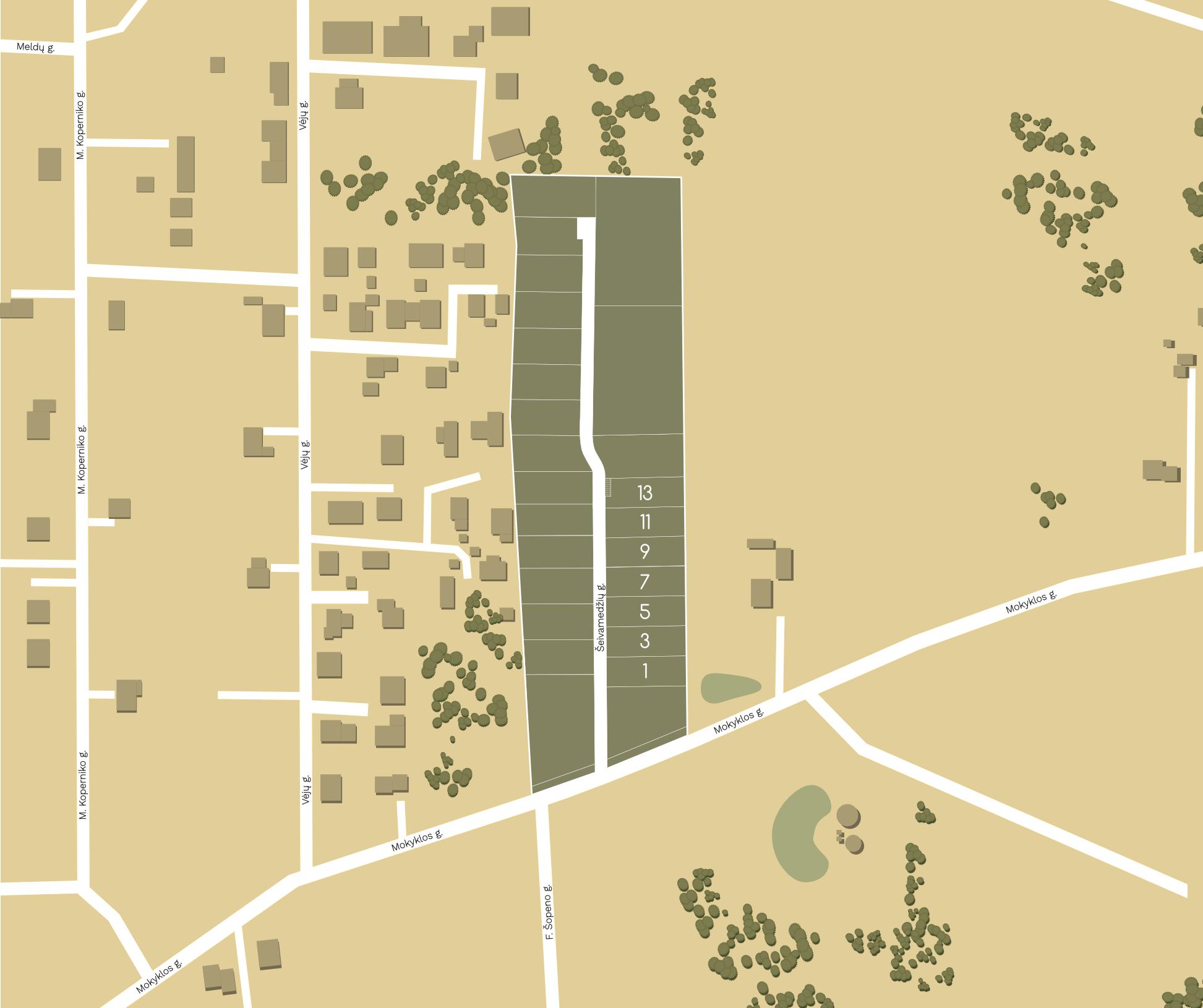 Kvartalo žemėlapis. Nuosavų gyvenamųjų namų kvartalas Vilniaus rajone. Parduodami namų valdos sklypai prie Vilniaus. Kairėnai. Galgiai