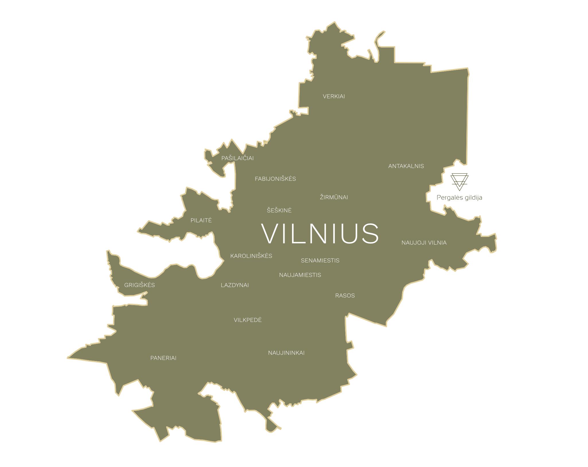Vilniaus miesto žemėlapis. Naujas nuosavų gyvenamųjų namų kvartalas Vilniaus rajone. Parduodami namų valdos sklypai prie Vilniaus. Kairėnai. Galgiai